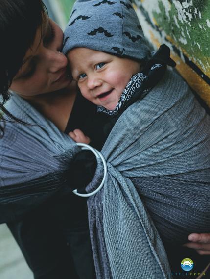Little FROG  tkaná šatka na nosenie detí - OBSIDIAN, XL