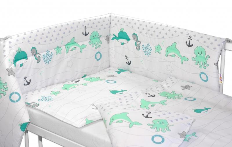 Mantinel s obliečkami OCEÁN Baby Nellys - zelený