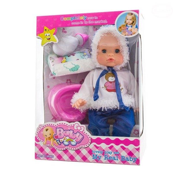 Euro Baby Bábika, bábätko spievajúci, cikajúci a pijúci - modrá/bielá