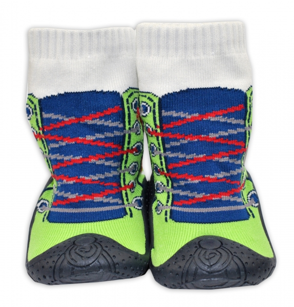 YO! Ponožtičky s gumovou šľapkou - Tenisky zelené-19-22 vel. ponožek