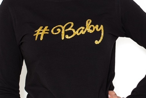 Be MaaMaa Tehotenské  tričko dlhý rukáv Baby - čierné - M