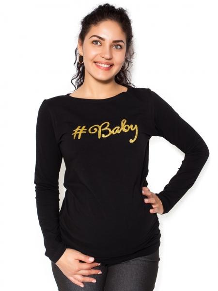 Be MaaMaa Tehotenské  tričko dlhý rukáv Baby - čierné - L