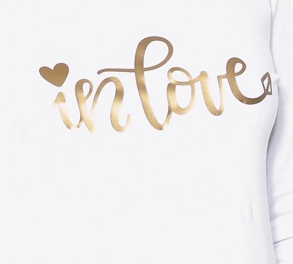 Be MaaMaa Tehotenské  tričko dlhý rukáv In Love - biele - L