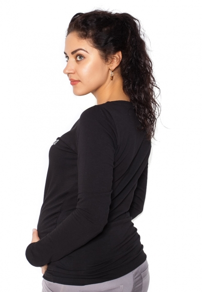 Tehotenské  tričko dlhý rukáv In Love - čierne