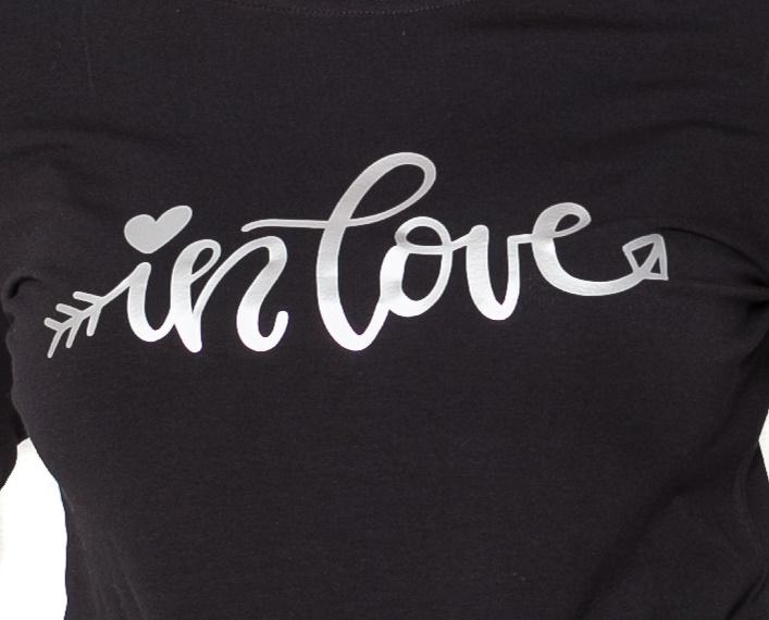 Be MaaMaa Tehotenské  tričko dlhý rukáv In Love - čierné - M