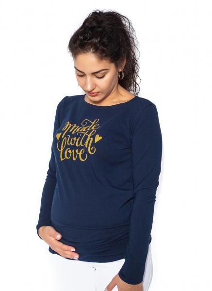 Tehotenské  tričko dlhý rukáv In Love - tm. modrá
