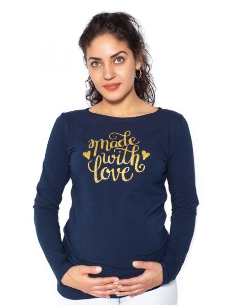 Be MaaMaa Tehotenské  tričko dlhý rukáv In Love - tm. modrá- S