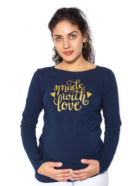 Be MaaMaa Tehotenské  tričko dlhý rukáv In Love - tm. modrá- M-M (38)