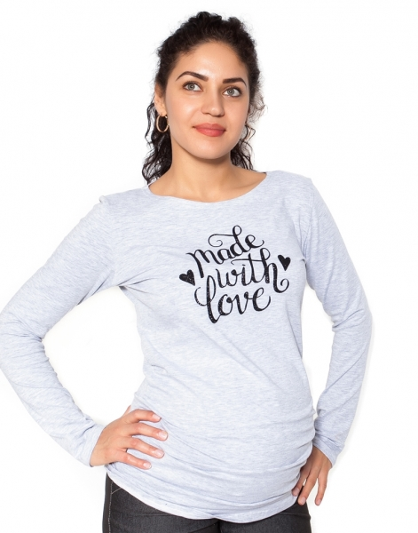 Be MaaMaa Tehotenské  tričko dlhý rukáv In Love - sivá - L
