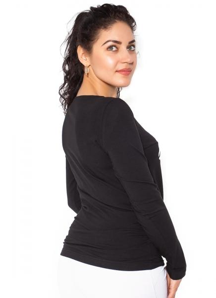 Be MaaMaa Tehotenské  tričko dlhý rukáv Kiss - čierné - L