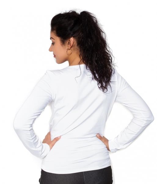 Be MaaMaa Tehotenské  tričko dlhý rukáv Kiss - biele - L