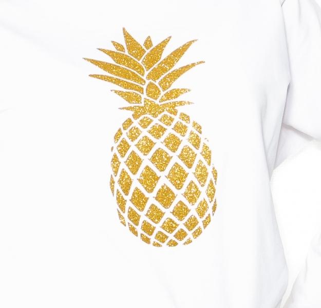 Tehotenské tričko Ananas - biela