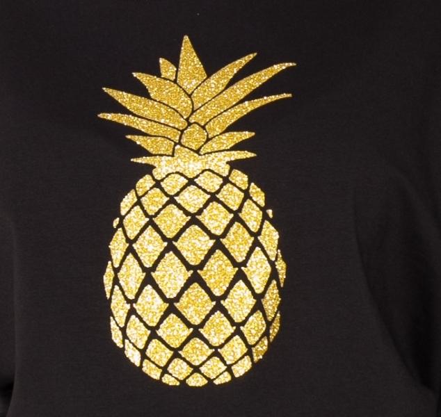 Be MaaMaa Tehotenská mikina, triko Ananas - čierné - M