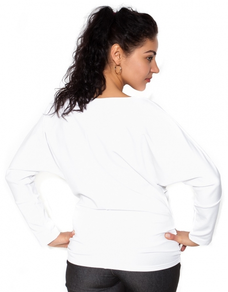 Be MaaMaa Tehotenská mikina, triko s aplikacjou - biele - L
