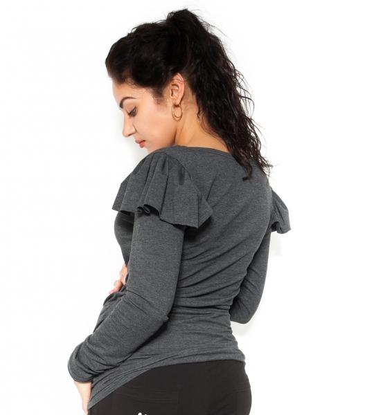 Tehotenské tričko dlhý rukáv FANNY s volánikom - tm. sivé