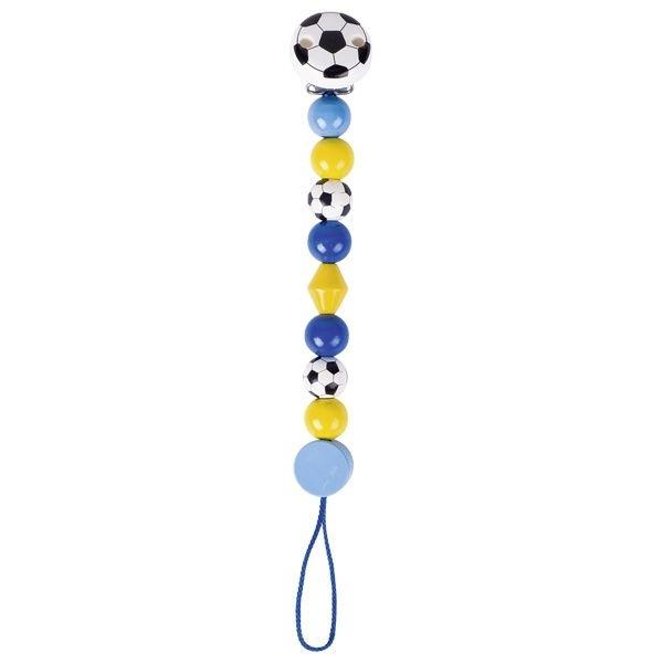Drevená retiazka na cumlík 17 cm - Futbalová lopta