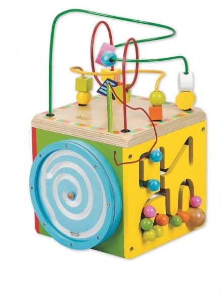Edukačná drevená kocka 34cm- trojitý labyrint