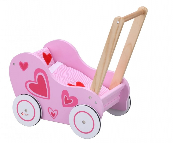 Classic world Drevený kočík pre bábiky - ružový - srdiečka