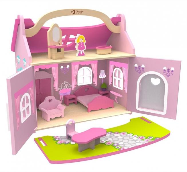 Classic world Drevený domček snov pre bábiky - ružový