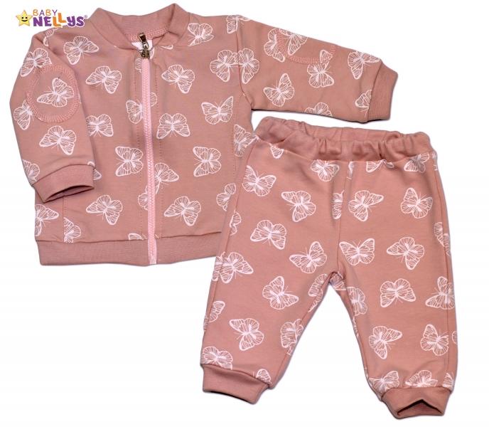 Bavlnená tepláková súprava Baby Nellys ® - Motýle/ púdrovo ružová