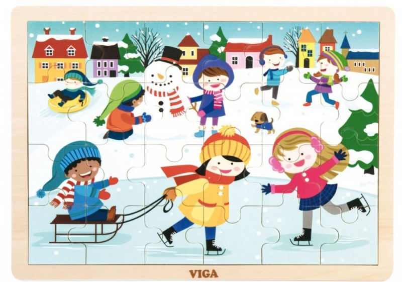 Drevené puzzle Ročné obdobia - ZIMA