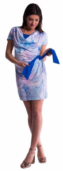 Be MaaMaa Tehotenské a dojčiace šaty s kvetinovou potlačou, s mašľou - modrá / nevädza-XXL (44)