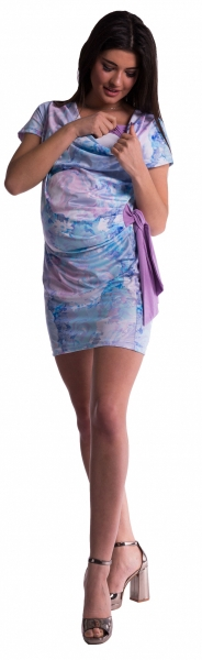 Be MaaMaa Tehotenské a dojčiace šaty s kvetinovou potlačou, s mašľou - modré / fialové