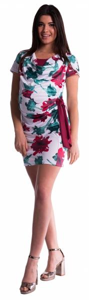 Tehotenské a dojčiace šaty s kvetinovou potlačou, s mašľou - červené/bordo
