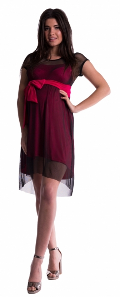 Tehotenské šaty sa šifónovým prehozom - amarant-L (40)