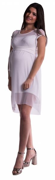 Tehotenské šaty šifónovým prehozom - biele
