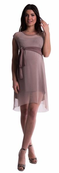 Tehotenské šaty sa šifónovým prehozom - cappucino-L (40)