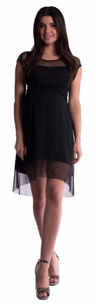 Tehotenské šaty šifónovým prehozom - čierne