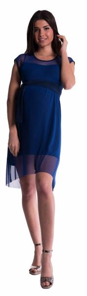 Tehotenské šaty šifónovým prehozom - granát