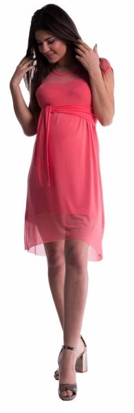 Be MaaMaa Tehotenské šaty sa šifónovým prehozom - koral