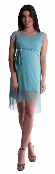 Tehotenské šaty šifónovým prehozom - mäta