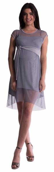 Tehotenské šaty šifónovým prehozom - sivé
