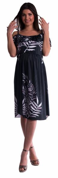 Tehotenské šaty na ramienkach - čierne