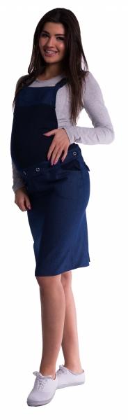 Tehotenské šaty / sukne s trakmi - tm. modré