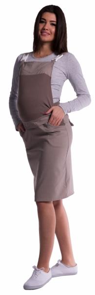Tehotenské šaty / sukne s trakmi - cappucino-L (40)