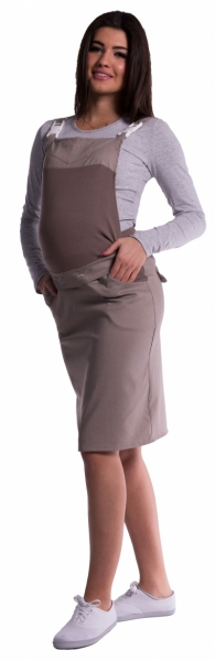 Be MaaMaa Tehotenské šaty / sukne s trakmi - cappucino-#Velikosti těh. moda;XXL (44)