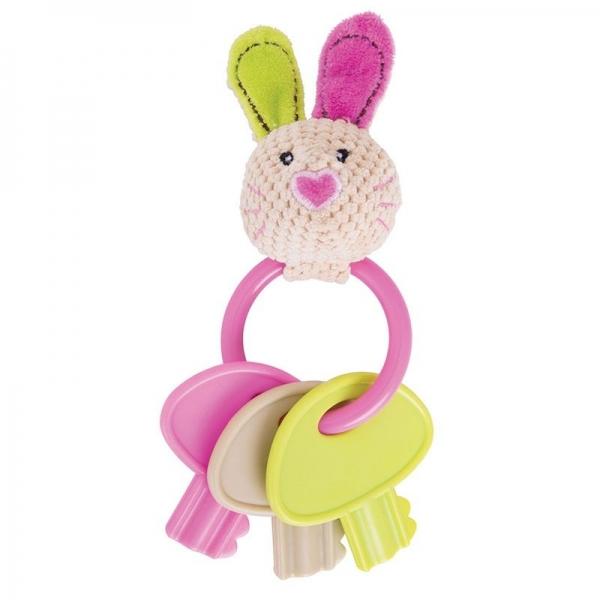 Edukačná hračka Zajačik Bella s hryzátkom - kľúče