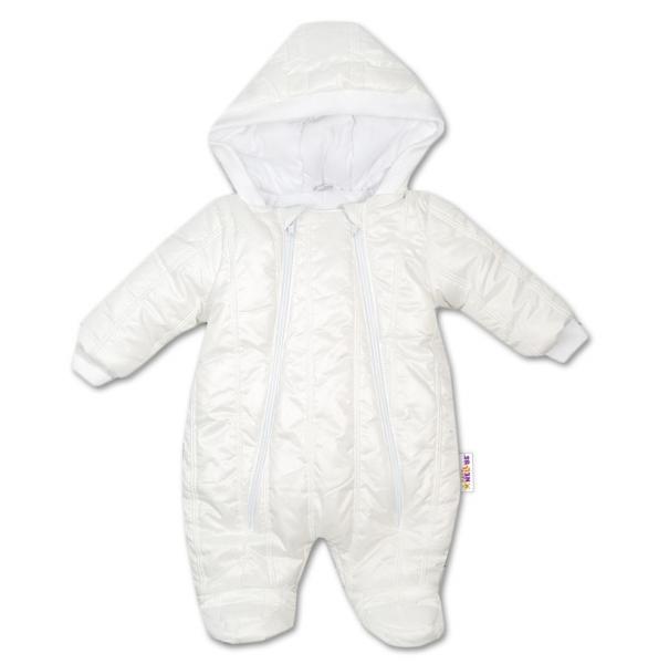 Kombinézka s kapucňu Lux Baby Nellys ®prošívaná - smotanová, veľ. 74-74 (6-9m)