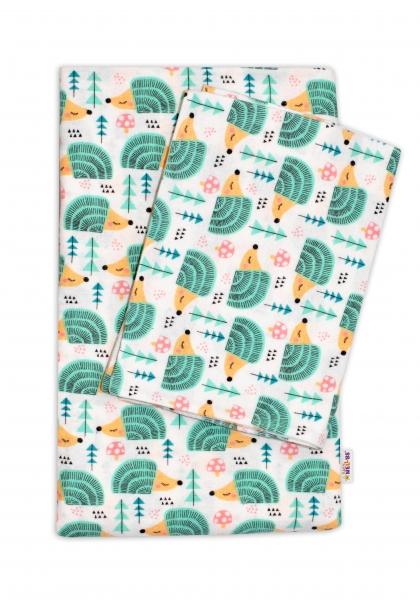 Flanelové obliečky Baby Nellys ® - Ježkovia v mäte