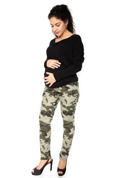 Be MaaMaa Tehotenské tepláky, nohavice maskáčové - zelené - S