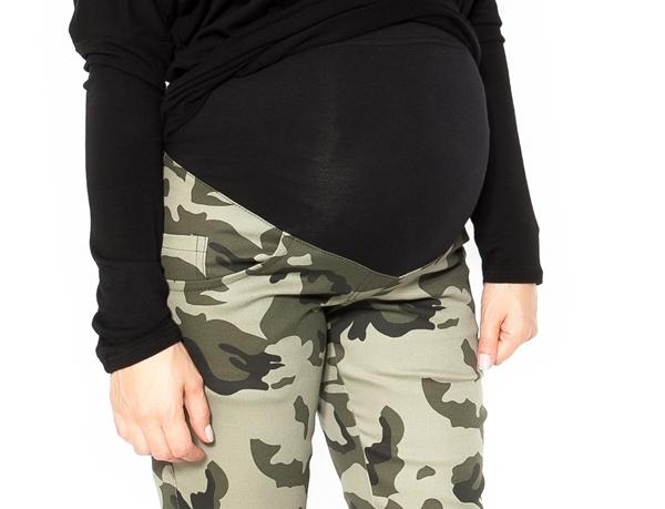 Be MaaMaa Tehotenské tepláky, nohavice maskáčové - zelené - XL