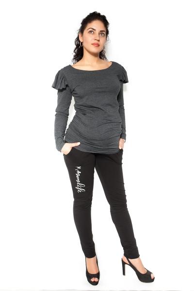 Tehotenské tepláky, nohavice MOM life - čierne