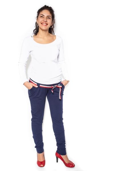 Tehotenské tepláky, nohavice MOMY - tm. modré - M-M (38)