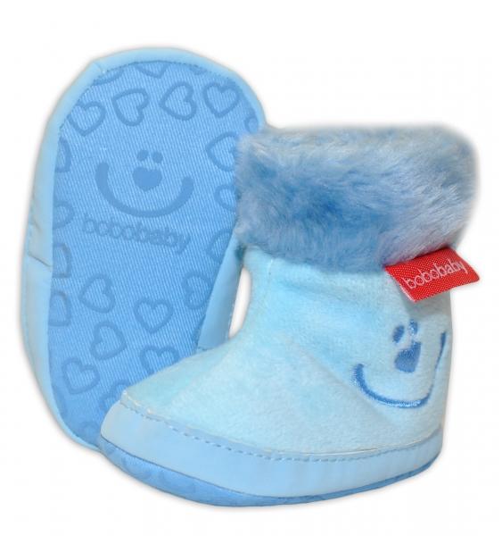 Zimné topánočky BOBO BABY s kožušinkou - Macko - sv. modré