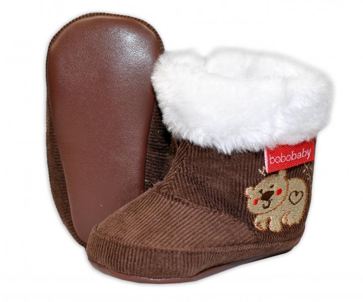 Menčestrové zimné topánočky BOBO BABY s kožušinkou - Medvedík - hnedé