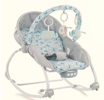 BABY MIX Lehátko pre dojčatá s vibrácií a hudbou - Motýle - sivé